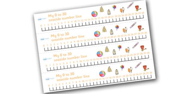 Seaside Number Line (0-30) - Seaside, Summer, Maths, Math, numberline, numberline display, holidays, water, tide, waves, sand, beach, sea, sun, holiday, coast