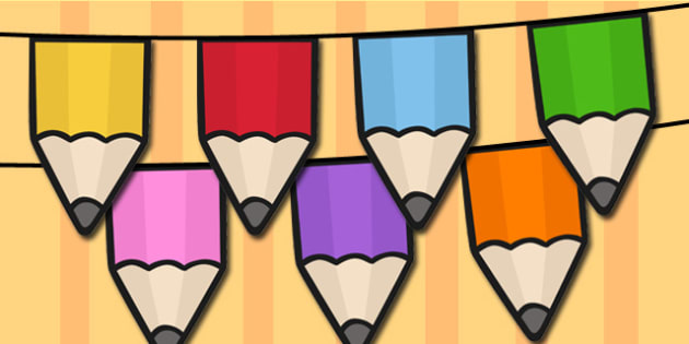 Pencil Bunting - pencil, bunting, display, classroom, string