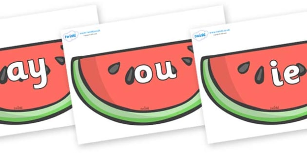 Phase 5 Phonemes on Watermelons to Support Teaching on The Very Hungry Caterpillar - Phonemes, phoneme, Phase 5, Phase five, Foundation, Literacy, Letters and Sounds, DfES, display