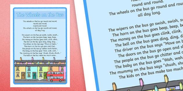 The Wheels on the Bus Nursery Rhyme Large Display Poster - rhymes, display, wheels onthe bus