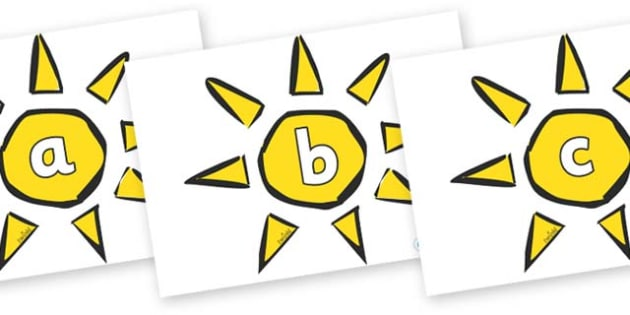 Phase 2 Phonemes on Weather Symbols (Sun) - Phonemes, phoneme, Phase 2, Phase two, Foundation, Literacy, Letters and Sounds, DfES, display