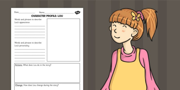 Stig of the Dump Lou Character Profile Writing Frame - stories, books, profile