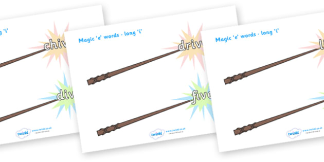 Magic E Words On Wands Long I - magic e words, words, long i , literacy, sounds, wands