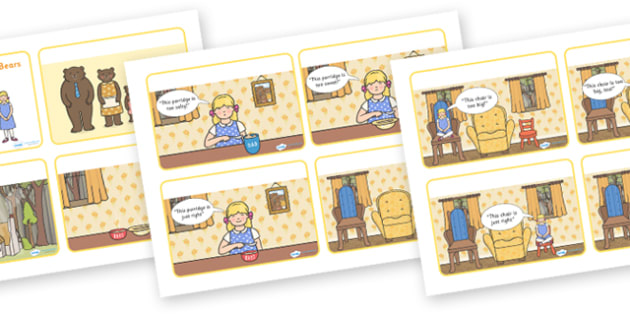 Goldilocks and the Three Bears Story Sequencing Cards with Speech Bubbles - goldilocks and the three bears, goldilocks, goldilocks story sequencing