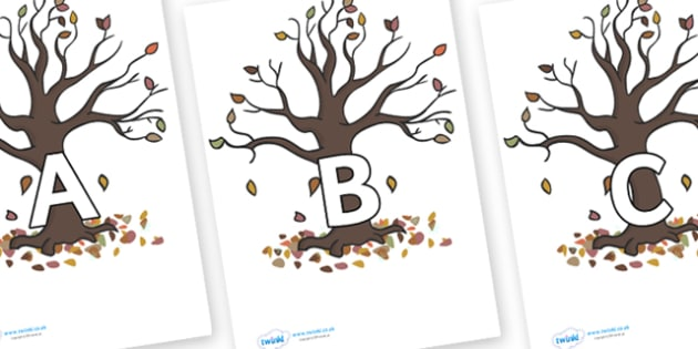 A-Z Alphabet on Autumn Trees - A-Z, A4, display, Alphabet frieze, Display letters, Letter posters, A-Z letters, Alphabet flashcards