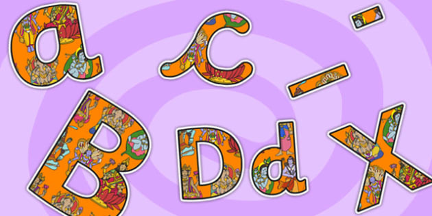 Hinduism Themed A4 Display Lettering-hinduism, themed, A4, display lettering, display, lettering, lettering for display, hinduism lettering