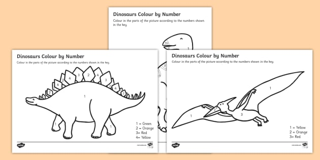 Dinosaurs Colour by Number - dinosaurs, colour, number, activity