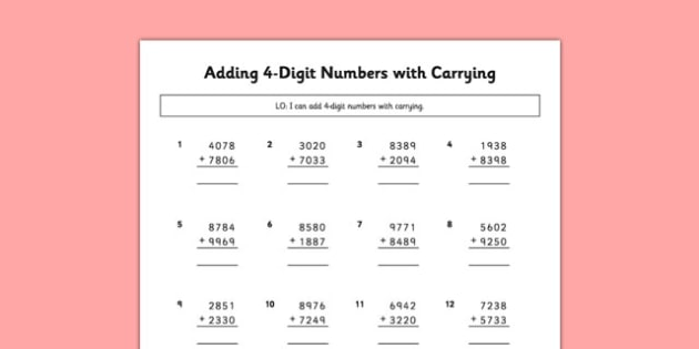 Adding 4 Digit Numbers Carrying - adding, 4 digit, numbers, carrying, maths, numeracy