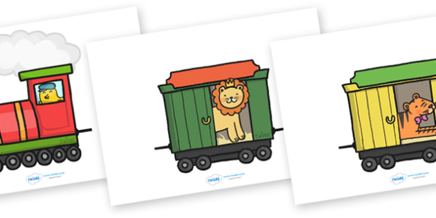 Editable Train and Carriages - Display, train, nursery, carriages