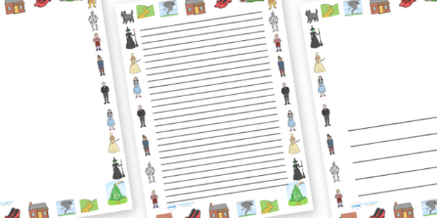 Wizard of Oz Page Borders - Wizard of Oz, Oz, Dorothy, yellow brick road, wicket witch, page border, border, writing template, writing aid, writing, Emerald City, Toto, the good witch, munchkin, tin man