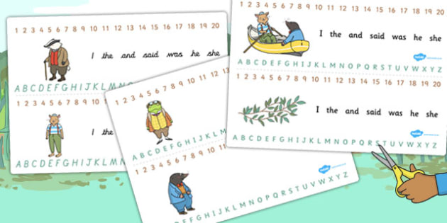 The Wind in the Willows Combined Number and Alphabet Strips
