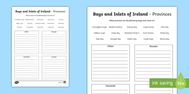 Bays and Inlets of Ireland Activity Sheet-Irish, worksheet