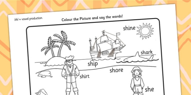 sh Sound Word Production Colouring Scene - sh, sound, colour