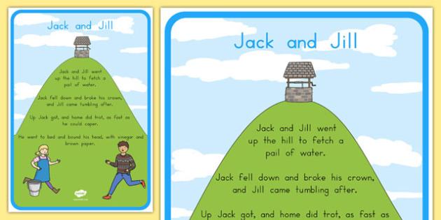 Jack and Jill Nursery Rhyme Poster - australia, rhyme, poster