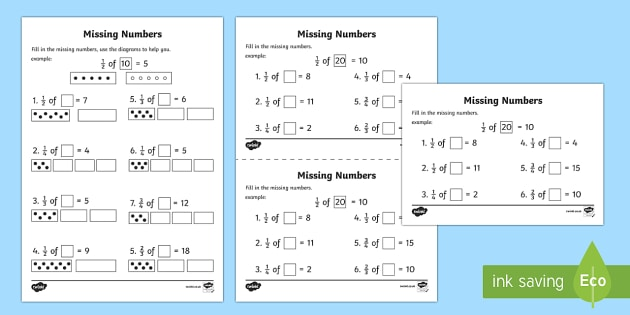 Fractions Missing Numbers Activity Sheets