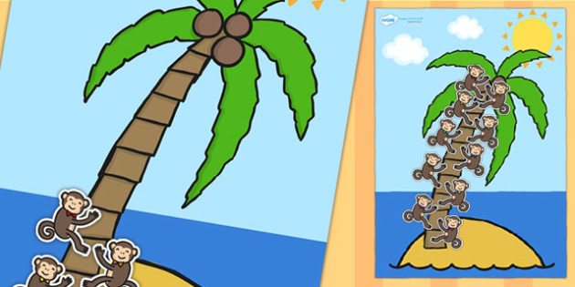 A4 Palm Tree and Monkey 10 Step Reward Chart - 10 step reward chart, reward chart, themed reward chart, palm tree, monkey, rewards, class management, A4