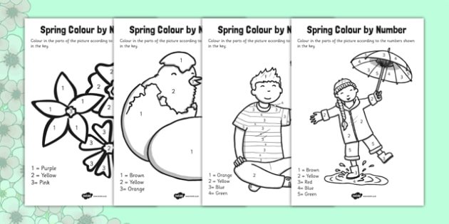 Spring Colour by Number - spring, colour, numbers, activity
