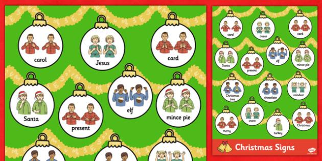 A4 British Sign Language Christmas Word Mat - christmas, mat, sign