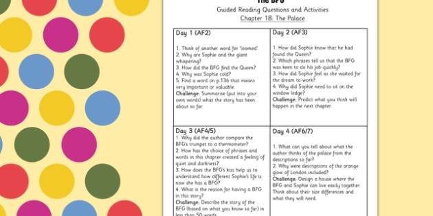 Guided Reading Questions Chapter 18 to Support Teaching on The BFG - Reading, Questions, BFG