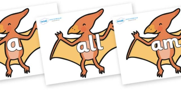 Foundation Stage 2 Keywords on Pterodactyl Dinosaurs - FS2, CLL, keywords, Communication language and literacy,  Display, Key words, high frequency words, foundation stage literacy, DfES Letters and Sounds, Letters and Sounds, spelling