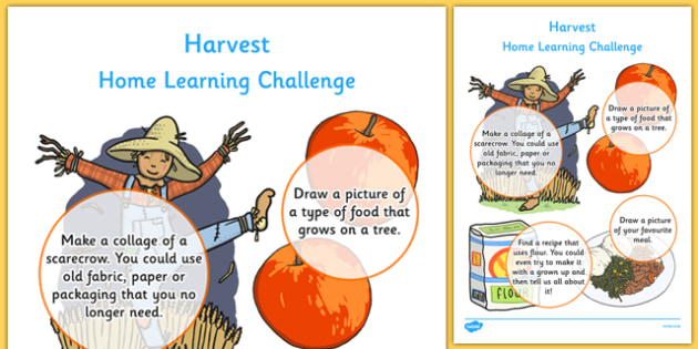 EYFS Harvest Home Learning Challenge Sheet Nursery FS1 - homework, early years, activity, topic