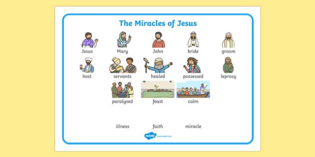 The Miracles of Jesus Bible Stories Word Mat - mats, visual