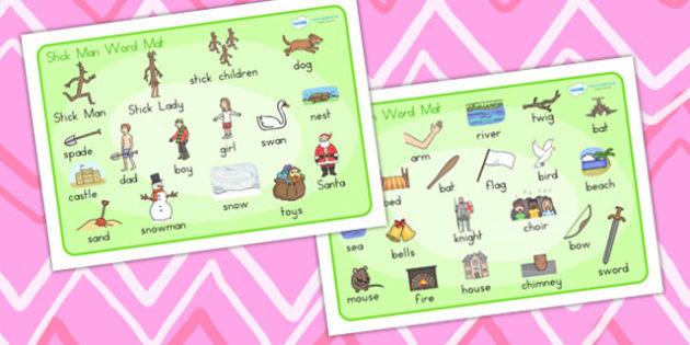 Australia Stick Man Word Mat Images - stick man, word cards, keywords, xmas