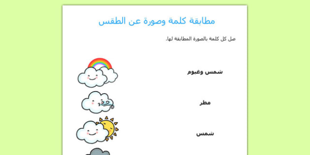 ورقة عمل لمطابقة الكلمة والصورة عن الطقس - أوراق عمل