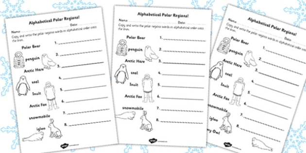 Polar Regions Alphabet Ordering Worksheet - worksheets, letters