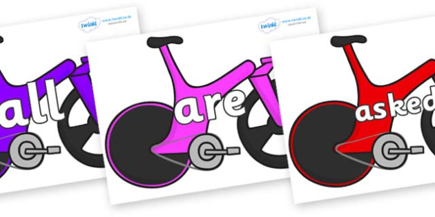 Tricky Words on Bikes - Tricky words, DfES Letters and Sounds, Letters and sounds, display, words