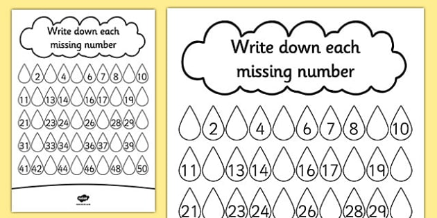 Raindrop Missing Number Activity Sheet - missing, number, rain, worksheet