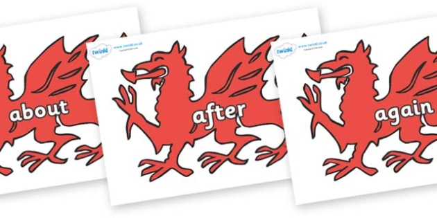 KS1 Keywords on Welsh Dragons - KS1, CLL, Communication language and literacy, Display, Key words, high frequency words, foundation stage literacy, DfES Letters and Sounds, Letters and Sounds, spelling