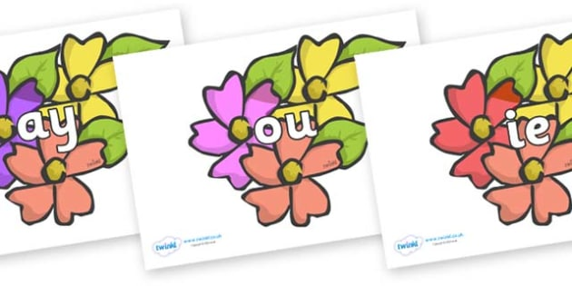 Phase 5 Phonemes on Flowers - Phonemes, phoneme, Phase 5, Phase five, Foundation, Literacy, Letters and Sounds, DfES, display