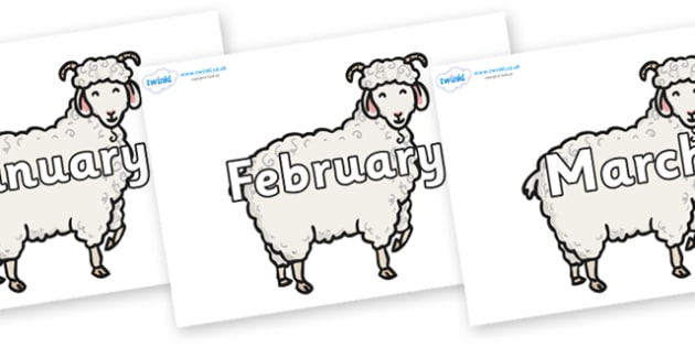 Months of the Year on Small Billy Goats - Months of the Year, Months poster, Months display, display, poster, frieze, Months, month, January, February, March, April, May, June, July, August, September