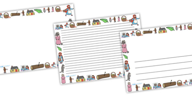 Little Red Riding Hood Full Page Borders (Landscape) - page border, page borders, red riding hood, red riding hood landscape, page borders, writing lines