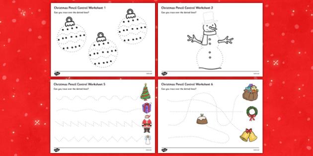 Christmas Pencil Control Sheets - christmas, pencil control, sheets, pencil, control