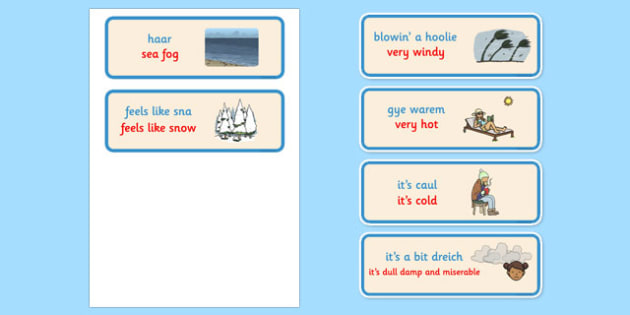 Scots Weather Words Cards - CfE, Literacy, Scots Language, cfe, weather, word cards