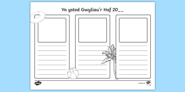 Yn ystod Gwyliau'r Haf 20__ - welsh, cymraeg, holidays, writing frames, write
