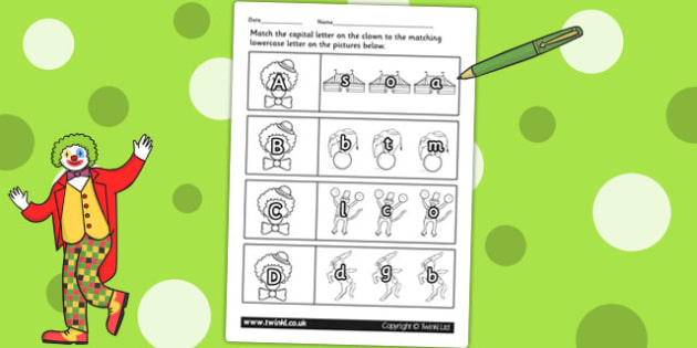 Circus Themed Capital Letter Matching Worksheet - alphabet, a-z
