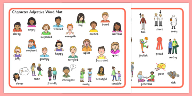 Character Adjective Word Mat - character, adjective, word mat, word, mat