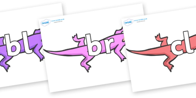 Initial Letter Blends on Lizards - Initial Letters, initial letter, letter blend, letter blends, consonant, consonants, digraph, trigraph, literacy, alphabet, letters, foundation stage literacy