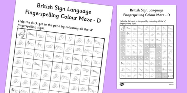 British Sign Language Left Handed Fingerspelling Colour Maze D