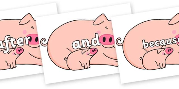 Connectives on Hullabaloo Pigs to Support Teaching on Farmyard Hullabaloo - Connectives, VCOP, connective resources, connectives display words, connective displays