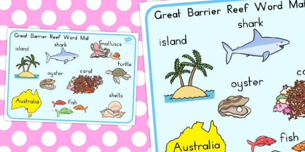 Great Barrier Reef Word Mat - australia, word mat, word, mat