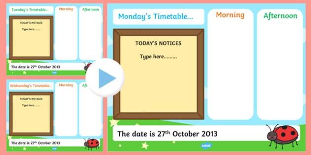 KS1 Visual Timetable Interactive PowerPoint Editable - KS1, timetable, interactive, powerpoint, editable, interactive powerpoint, editable powerpoint