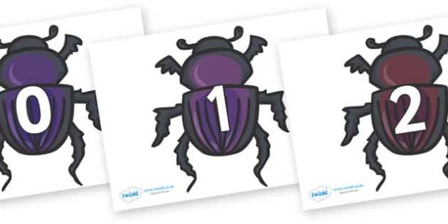 Numbers 0-100 on Egyptian Beetles (Scarab) - 0-100, foundation stage numeracy, Number recognition, Number flashcards, counting, number frieze, Display numbers, number posters