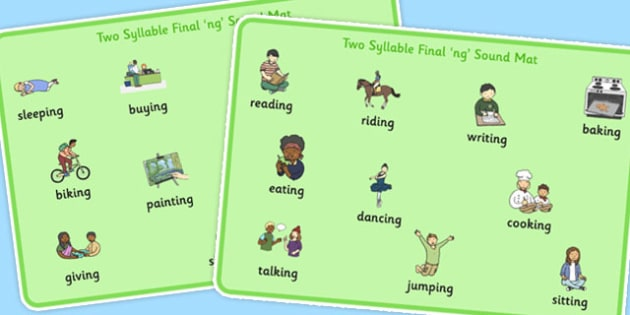 Two Syllable Final 'ng' Sound Word Mat - final ng, sound, word mat
