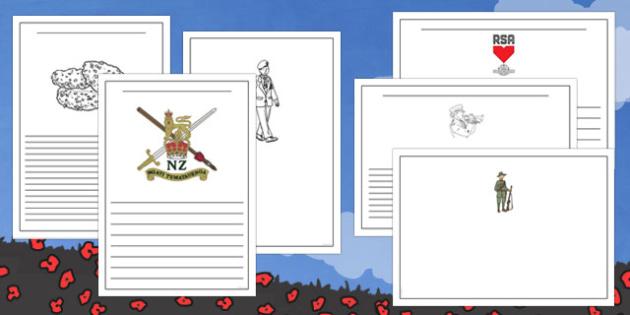 New Zealand Anzac Day Writing Frames