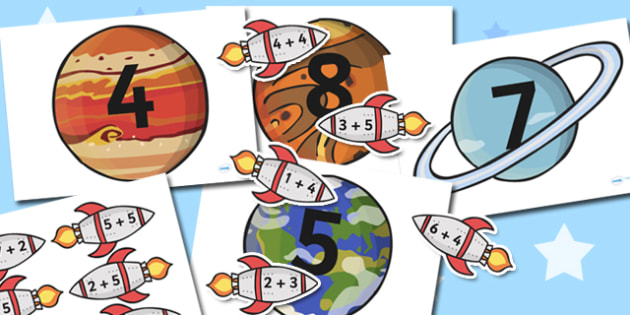 Space Themed Addition to 10 Activity - sapce, addition, maths