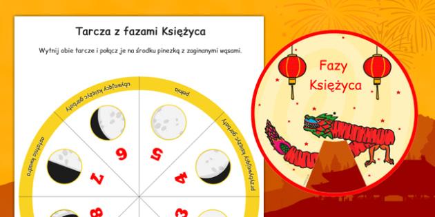 Chiński Nowy Rok Tarcza z fazami Księżyca po polsku - pełnia, nów